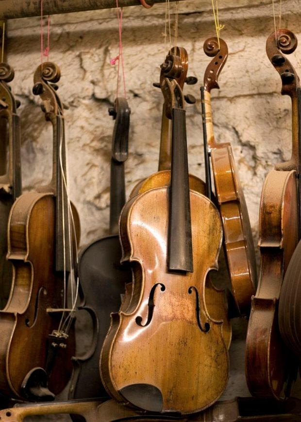 Fiddles hanging in Paul Doyle's workshop, Galway by Linda McNulty