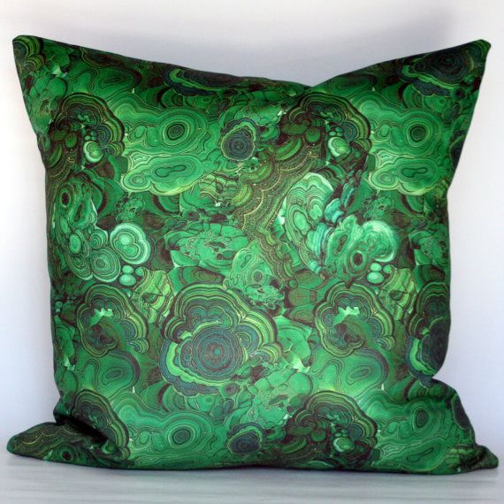 Malachite Decorative Pillow Cover via etsy