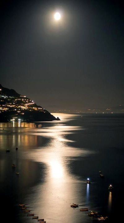 Wonderful view of the Moon in Positano, Italy