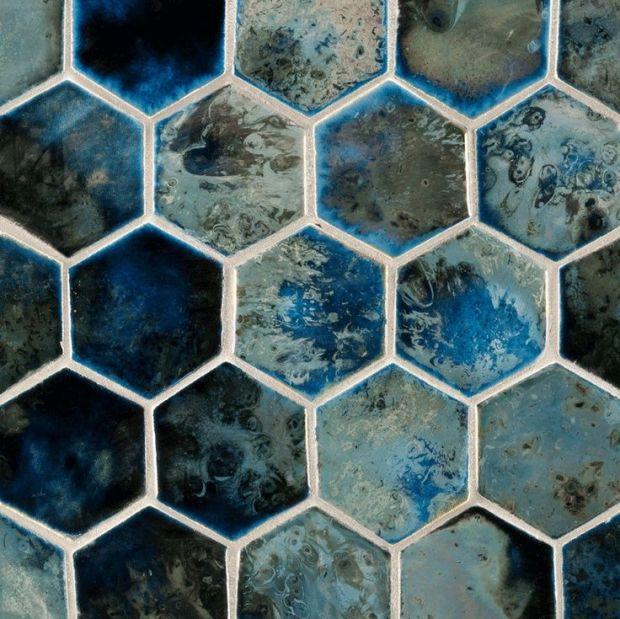 ANN SACKS Fire and Earth hexagon ceramic field in blue black silver luster