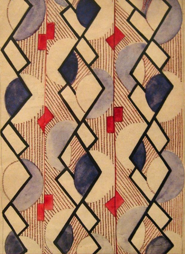 Suprematist pattern design by Olga Rozanova