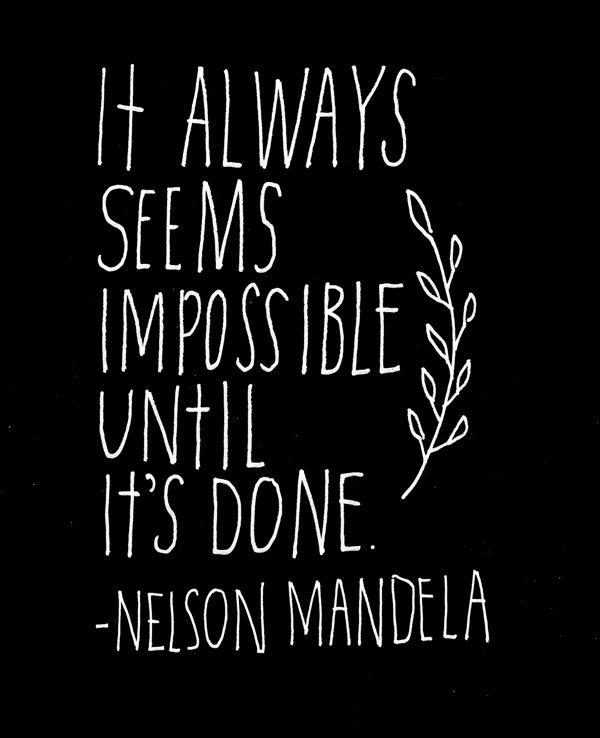 Nelson Mandela quote hand lettered by Lisa Congdon