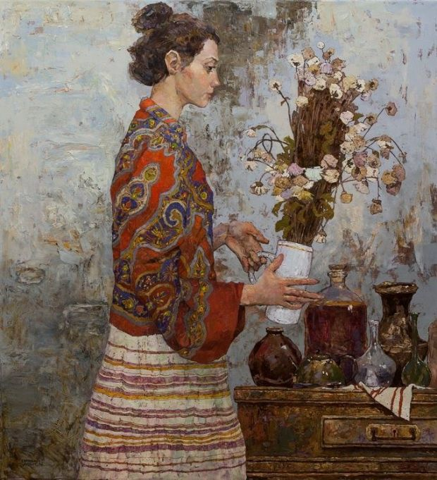 Girl with flowers - Denis Sarazhin