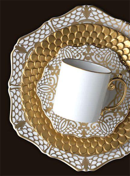 L'Objet Alencon Gold Dinnerware _ Gracious Style
