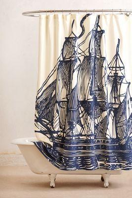 Ship design shower curtain via rstyledotme