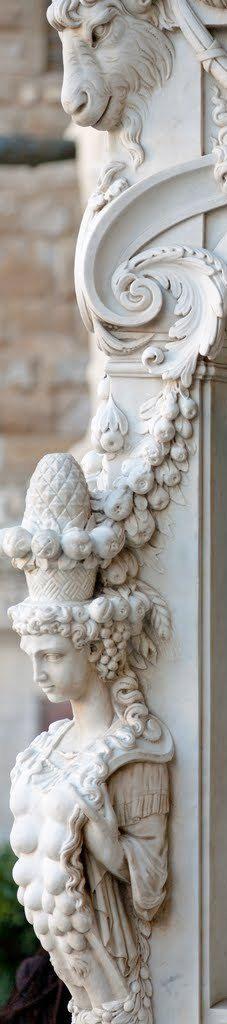 Loggia dei Lanzi Detail, Perseus, The Pedestal. Loggia dei Lanzi, Firenzi, Italy.