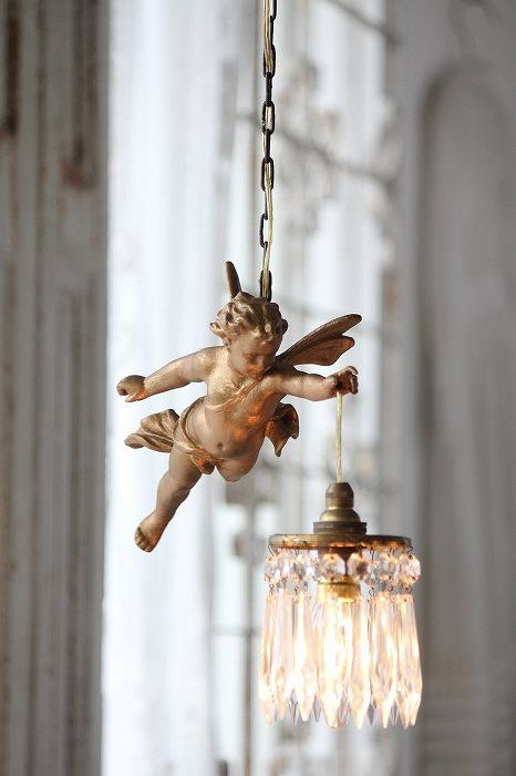 Coconfouato pendant lamp and antique French fairy by warmedbylovedotcom