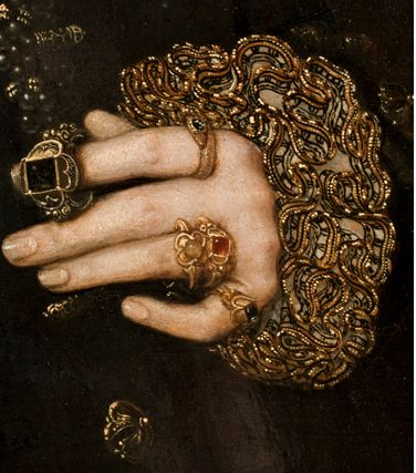 Hans Eworth_ Mary Nevill, Lady Dacre; Gregory Fiennes, 10th Baron Dacre (detail), 1559