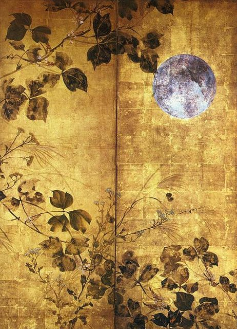 Autumn Flowers and Moon by Hoitsu Sakai, Japan