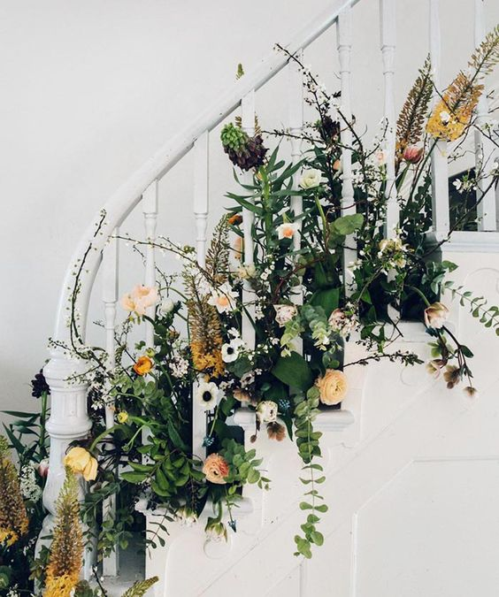 DIY Spring Party Floral Staircase via Design Sponge