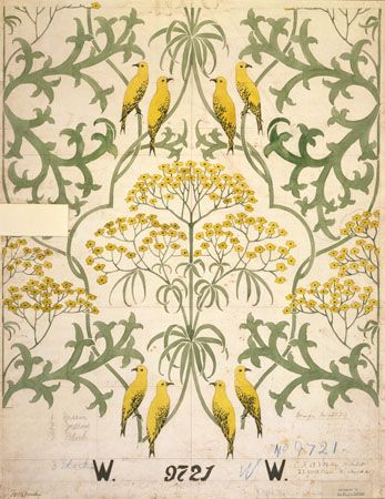 Fool's Parsley, wallpaper, Voysey, Charles Francis Annesley 1907