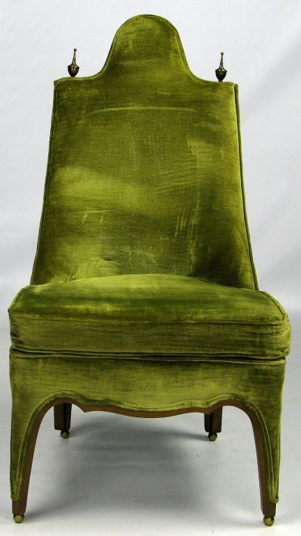 Henredon Green Velvet Chair saved from 1stdibs