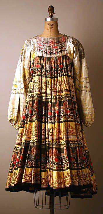 Multicolor print silk Dress, Zandra Rhodes, 1968–69 _ The Met
