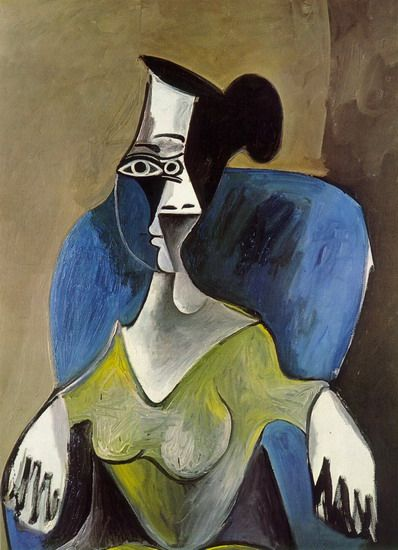 Pablo Picasso. Woman sitting in a blue armchair. 1962