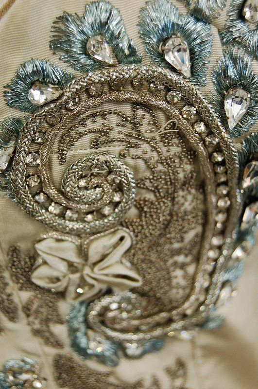 Pierre Balmain couture ball gown, circa 1953- Lesage silver and blue embroidery