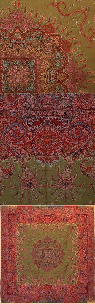 Rare antique French shawl, ca.1820. Jaquard loom