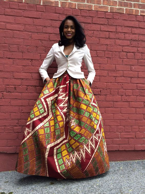 African Print Maxi Skirt The Mel Maxi by CHENBURKETTNY on Etsy
