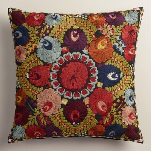 Floral Wool Henrietta Throw Pillow sold by Cost Plus