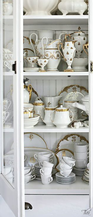 gold and white china