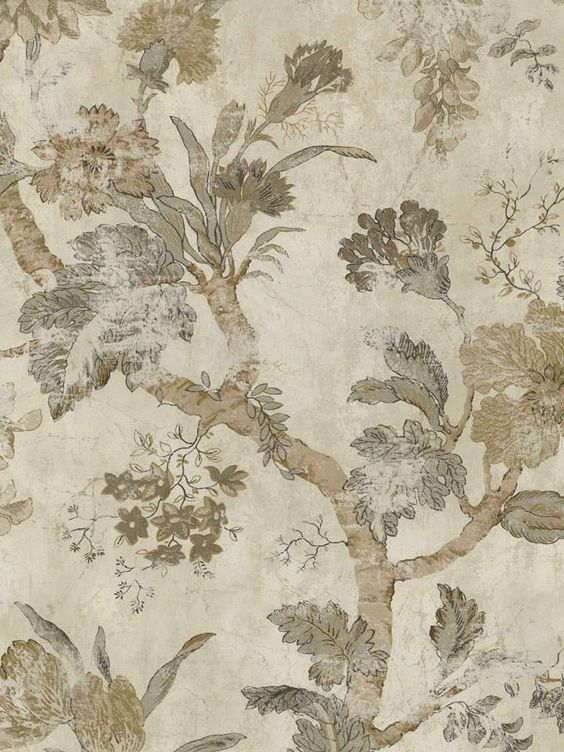 Interior Place - Soft Brown Jacobean Floral Wallpaper