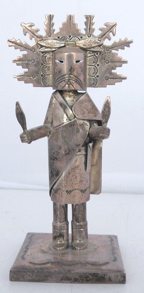 Sterling Silver sculpture Navajo Butterfly Maiden Kachina by Jeffery Castillo