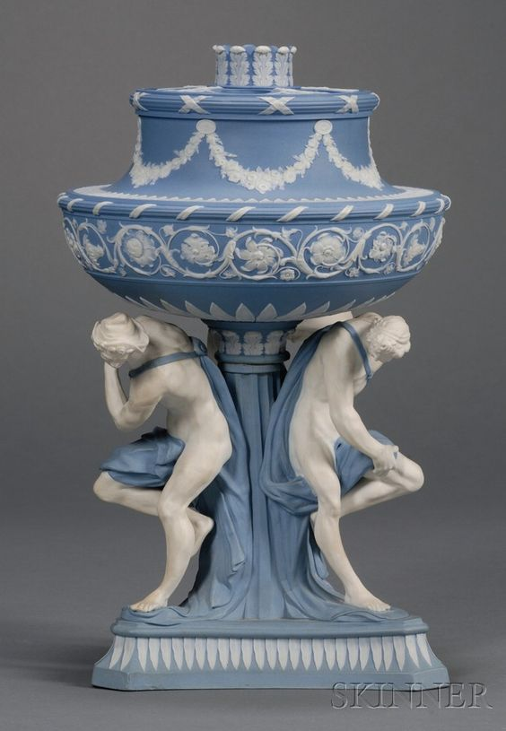 Wedgwood Solid Blue Jasper Michelangelo Vase and Cover, England, 18th century via Skinner Auctions