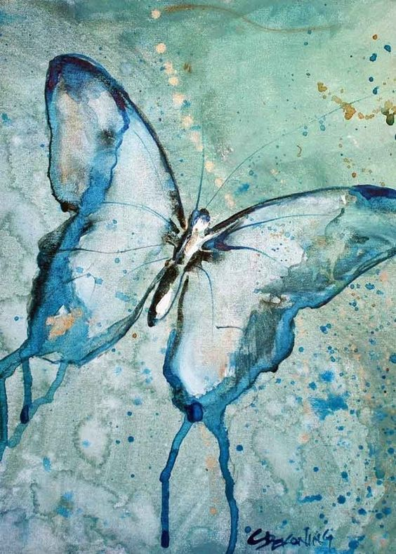 Blue Butterfly watercolor painting fine art by christydekoning