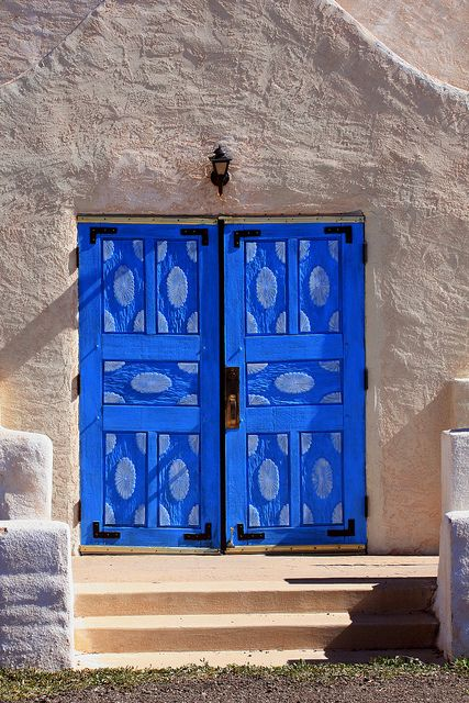 Carved Blue Doors; San Ysidro Church, San Ysidro, NM [Lou Feltz], Photo by deserttoad on Flickr