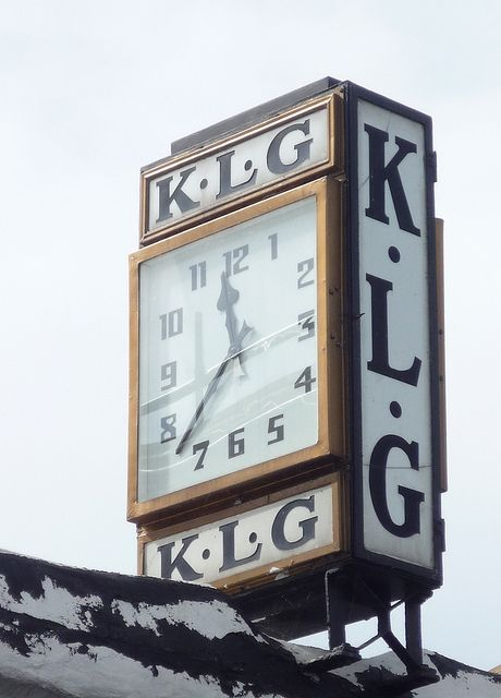 K.L.G. Art Deco Clock, Station Road, photo by curry15 on Flickr