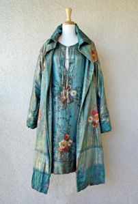 1920's chemise style coat and dress set with a hand embroidered Japanese inspired floral motif