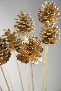 gold pine cones