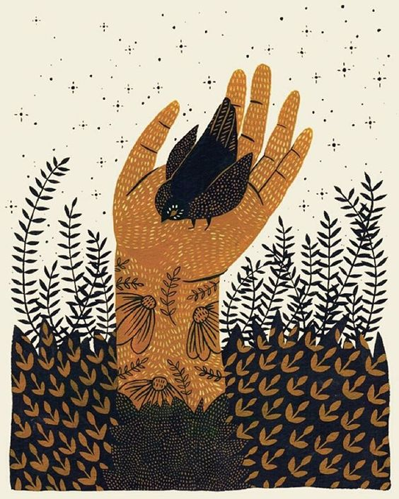 gouache-hand-illustration-bird-in-hand